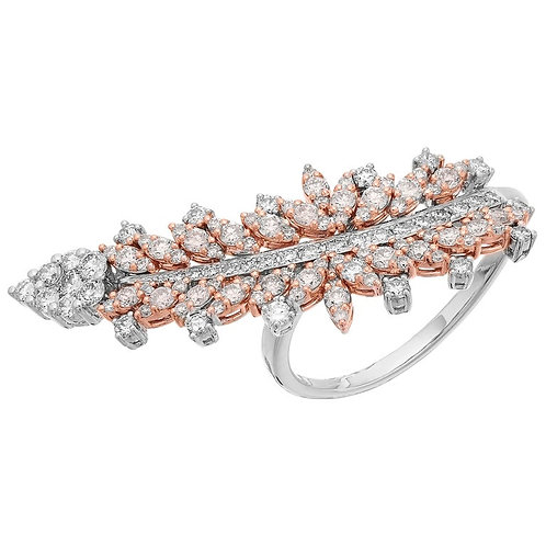 White & Fancy Colour Natural Pink Diamond Statement Ring by Designer Yessayan
