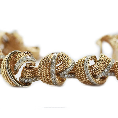 Retro 1950's Famous Design 18ct Yellow Gold Rope Knot Diamond Statement Bracelet
