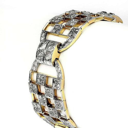 Art Deco 1920's Old European Cut Diamonds Wide Chequered Bracelet, France origin