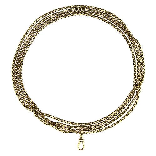 Antique Edwardian 9 Carat Gold Long Guard Chain/ Double/Triple Rows Chain