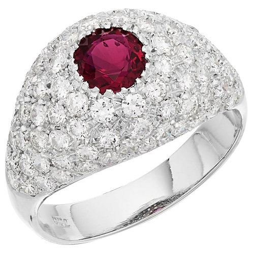 GCS Certified Natural Unheated Ruby and Diamond Bombe Ring in 18 Karat Gold