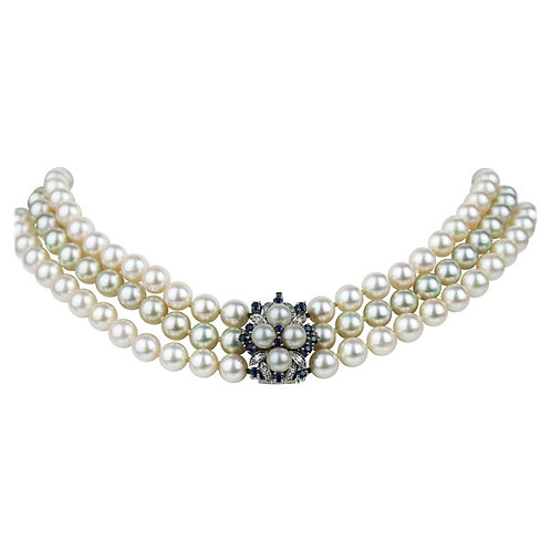 Bespoke Three Row Akoya Pearl Necklace with Diamond & Sapphire Clasp
