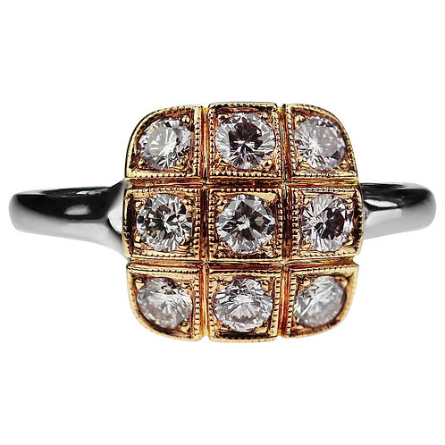 Natural Fancy Colour Pink Diamond Square Cluster Ring in 18K White & Rose Gold