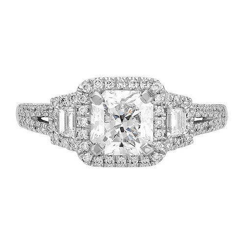 IGI Certified Lucere Cut (princess) Engagement Diamond Ring in 18 ct White Gold
