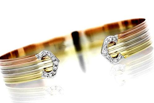 Diamond C Logo Bangle, British Hallmarked 9 Carat Yellow, White & Rose Gold