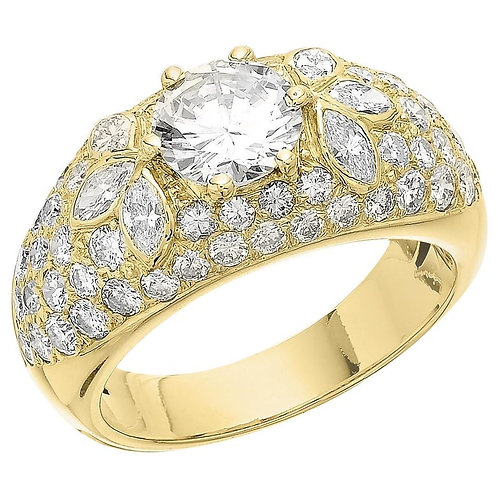 Certified Diamond Bombay Cluster Dome 3.66 ct Ring in thick 18 ct Yellow Gold