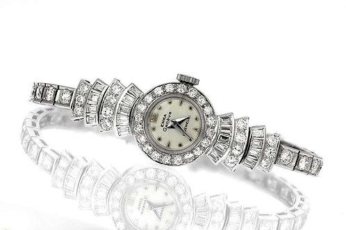 Retro Diamond Cocktail Dress Watch in Platinum, Movement Swiss Emka