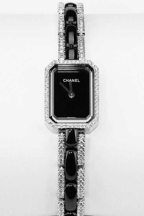 Chanel Premiere Watch in 18 K Gold Black Ceramic & Diamonds, Octagonal Design