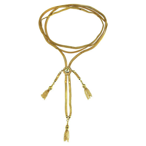 Antique Gold Long Chain/Necklace with Tassel Ended Links with Enamel Panel, 12k