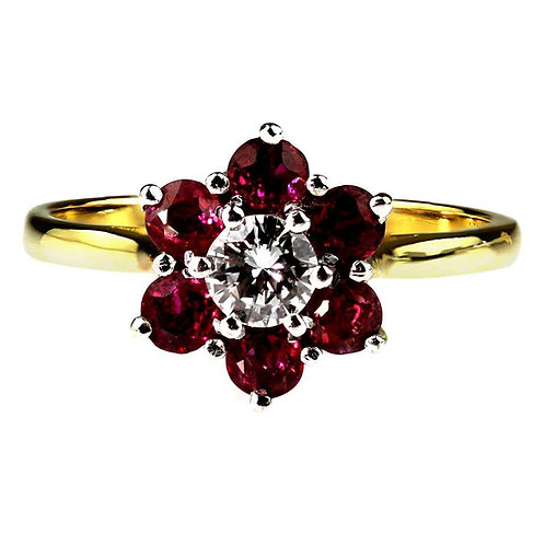 Ruby and Diamond Cluster Ring in 18 Carat White and Yellow Gold, Vintage, Retro