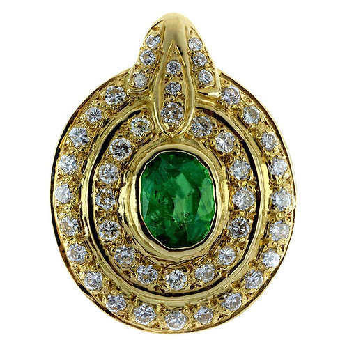 Emerald and Diamond Oval Cluster Pendant in 18 Carat Yellow Gold
