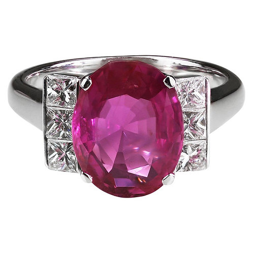 Gubelin Certified Natural Burma/Myanmar Pink Sapphire 4.5 Carat and Diamond Ring