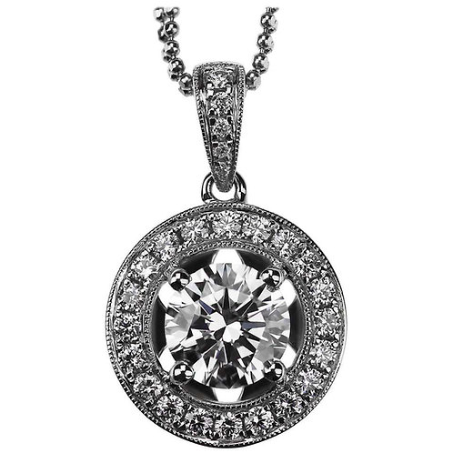 GIA Certified Solitaire 1.50 ct F VS2 Round Brilliant Cut Diamond halo Pendant