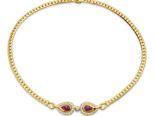 Cartier, Retro Ruby & Diamonds Necklace in 18K Yellow Gold, Original Pouch