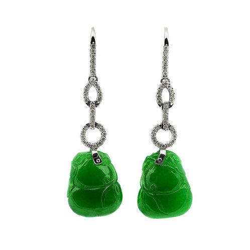 Certified Natural Jade Gourd Bottle Chinese Xian Immortals Drop Diamond Earrings