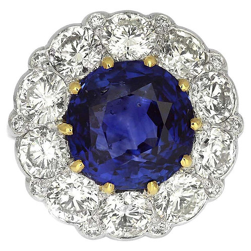 Certified Sapphire, Unheated Natural Sri Lanka 10.6 Carat & Diamond Cluster Ring