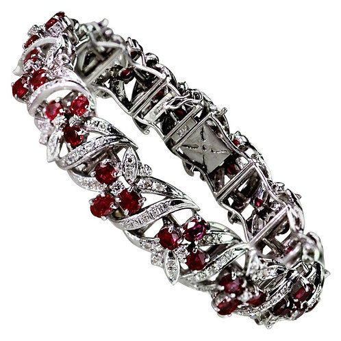 Ruby and Diamond Wide Band Cluster Bracelet in 14 Karat White Gold