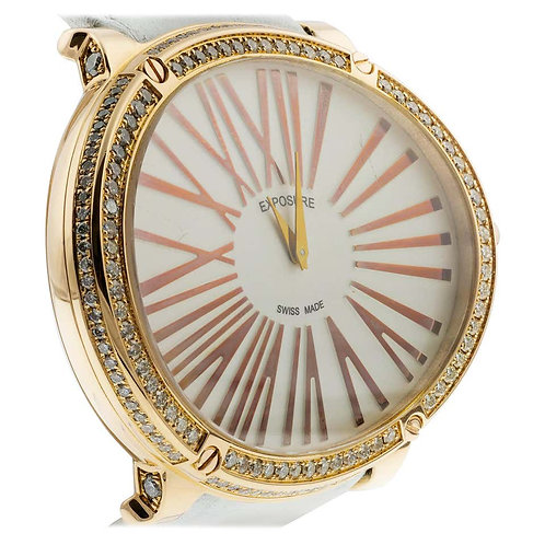Exposure Ladies Watch, in 18 Karat Gold & Diamonds, Strap Big Oval Watch