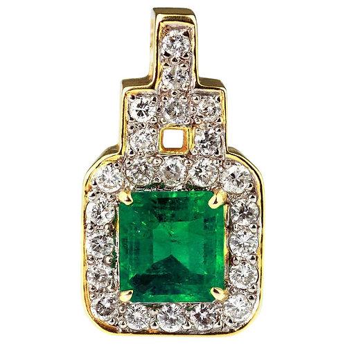 Colombian Emerald Vivid Green Color and Diamond Rectangular Shape Pendant