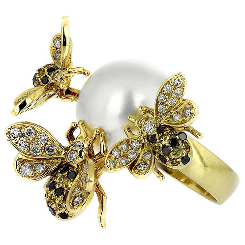 White and Black Diamonds, Yellow Sapphires and Pearls Set Bees Cocktails Ring