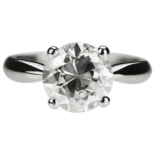 Old European Antique Diamond 2.97ct Single Stone/Solitaire Ring in Platinum