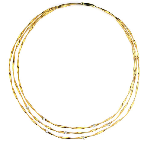 Marco Bicego Marrakech Three Strand Diamond Necklace in 18 K Yellow Gold