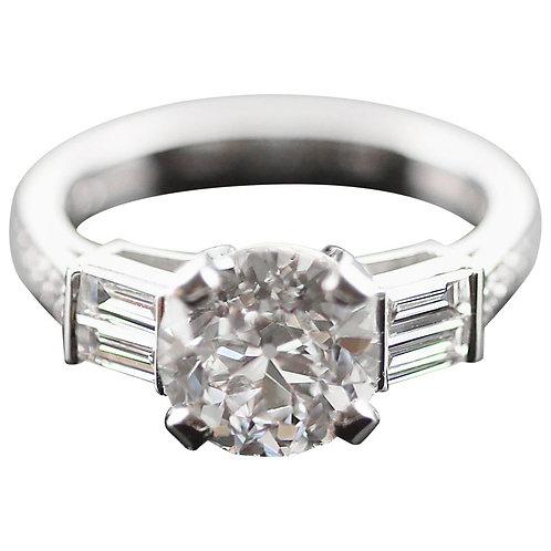 Antique Old European Cut Certified Diamond 2.37 ct F VS2 Ring in Platinum