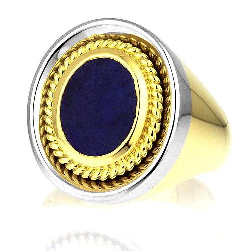 Gents Signet Ring, Blue Lapis Lazuli in Bimetal Heavy 18K White & Yellow Gold