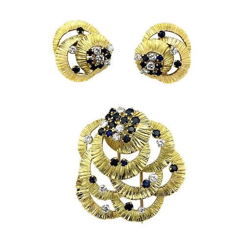 Kutchinsky Diamond and Sapphire Earrings and Matching Brooch, Retro Vintage