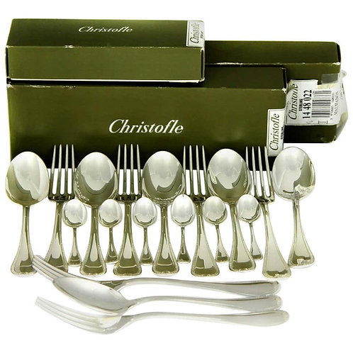 Christofle, Malmaison Sterling Silver 18-Piece Set of Spoon, Fork and Teaspoon