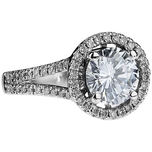 GIA Certified Natural Blue Colour Round Brilliant Cut Diamond 1.43ct Ring