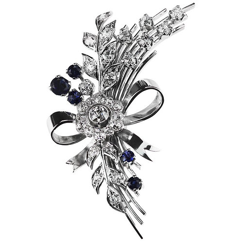 Antique Sapphire & Old European Diamond Flower Bouquet Spray Brooch in Platinum