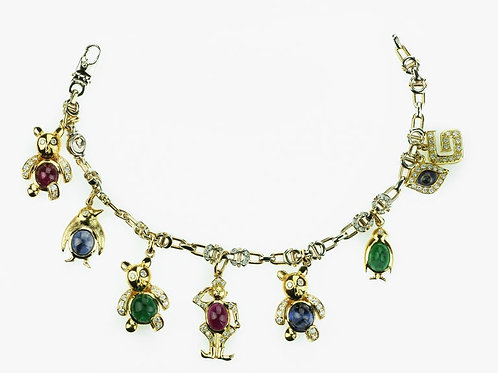 Adler Charm Bracelet with Penguins, Bear, Devil Eye in Diamond, Ruby & Emerald