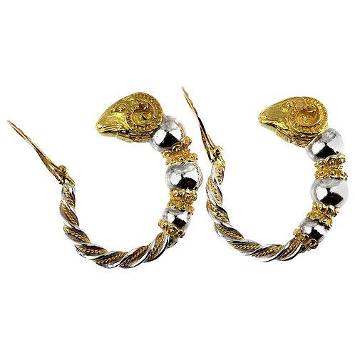 Zolotas, Greek Mythical Ram's Head Hoop Clip-On Earrings in 18K Gold and Silver