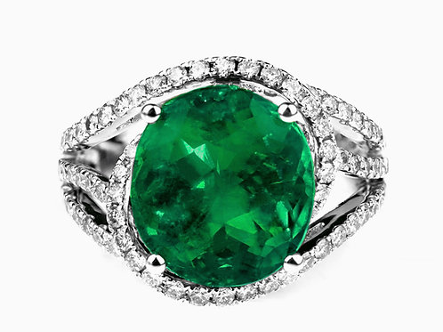 Certified Natural Colombian Emerald 5.3 ct & Diamond Ring in 18 K White Gold