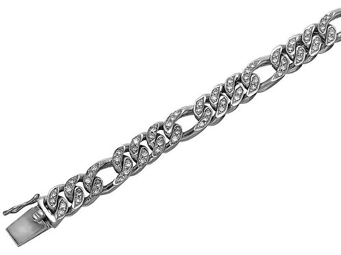 Gents Round Diamond Figaro Curb Link Chain Bracelet in Heavy Solid White Gold