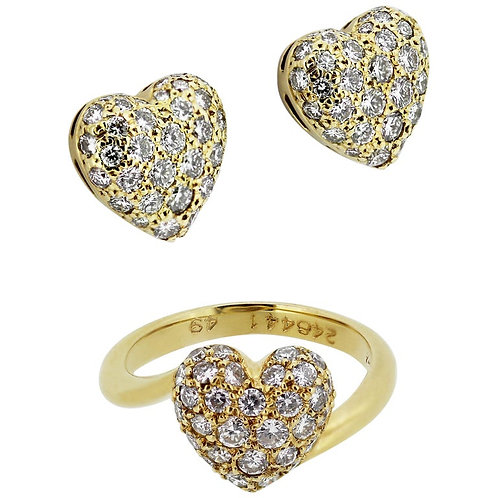 Cartier French Designer, Diamond Heart Shape Earrings & Ring Set in 18K Gold