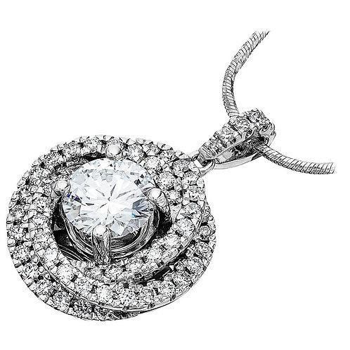 GIA certified 1.6ct D VS1 Single Stone Round Diamond Trinity Pendant Platinum
