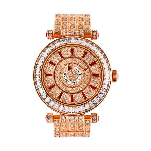 Franck Muller Double Mystery Watch, 18 Karat Gold, Ruby and Diamond Bracelet