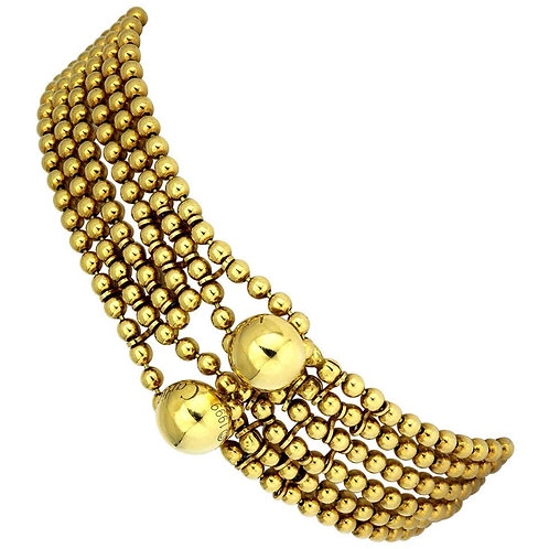 Cartier, 'Draperie' 18 Carat Gold Bracelet Design as Six Strings of Beads