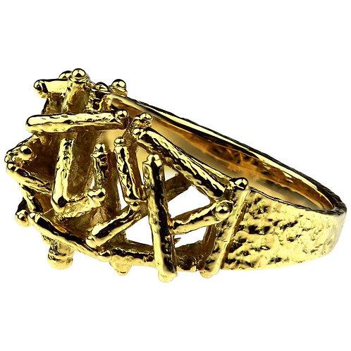 Designer Kutchinsky, Vintage1970 British Hallmark Abstract 18 Karat Gold Ring