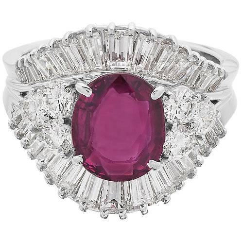GCS Certified Natural Unheated Ruby 2.1 Carat and Diamond Ring in 18 Karat Gold