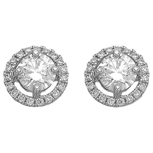 Diamond Single Stone Solitaire Stud Surrounded by Halo Cluster 1.20 ct Earrings