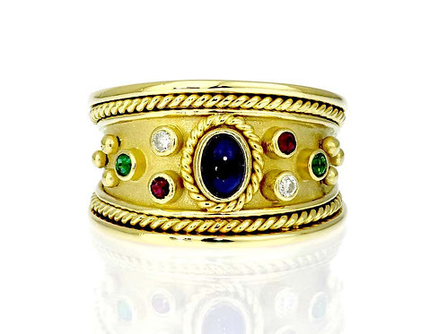 Sapphire, Ruby, Diamond & Emerald Tapered Templar Ring in 18 Carat Yellow Gold