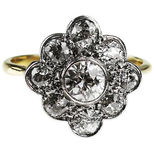 Vintage 1960's Old European Cut Diamonds cluster ring in 18ct gold & Platinum