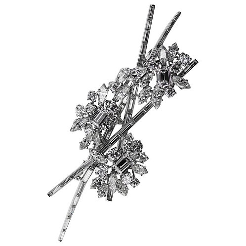1970s Kutchinsky London Diamond Spray Brooch in Platinum