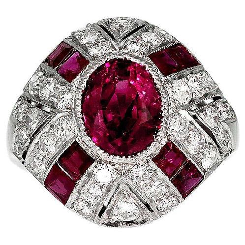 GCS Certified Natural Myanmar/ Burmese Ruby 2.3 ct and Diamond Ring, Retro 1950s
