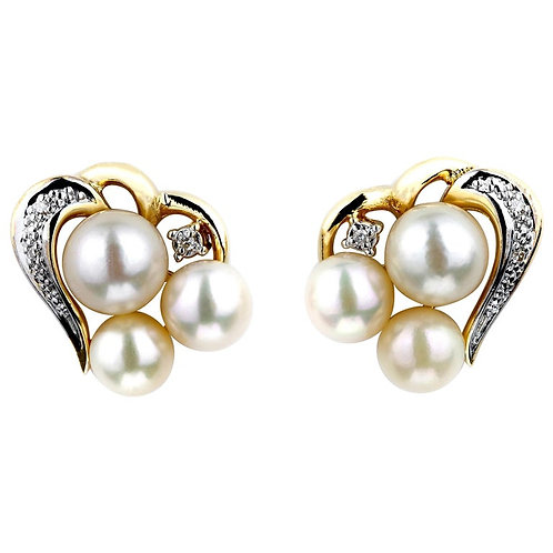 Pearl and Diamond Earrings, Heart Shape in 18 Carat Yellow Gold, Pin and Push on