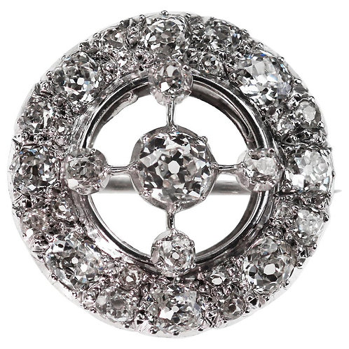 Antique Art Deco 1920 Old European Cut Diamond Circular Brooch in 18 K Gold