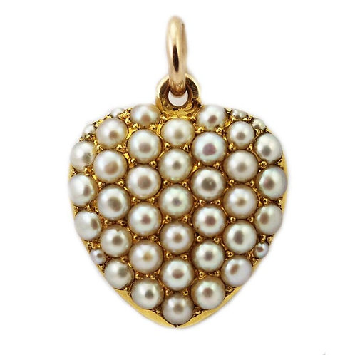 Antique Victorian 1900 Heart Shape Natural Pearl Locket Pendant